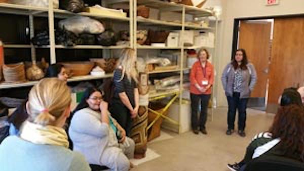 Curators behind the scenes at the Wheelwright Museum