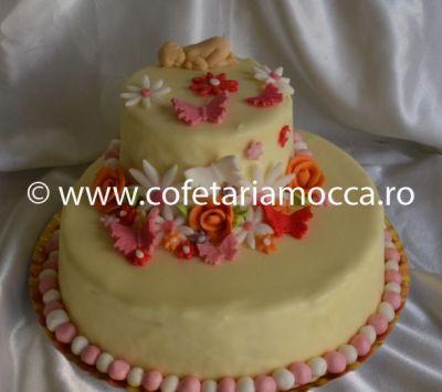 Tort cu ciocolata alba si floricele oradea (317)
