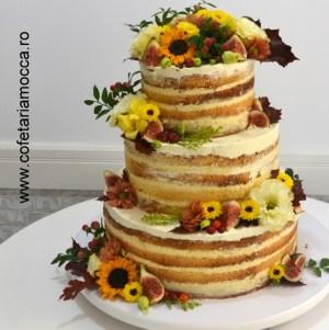 tort nunta naked cake floarea soarelui 02