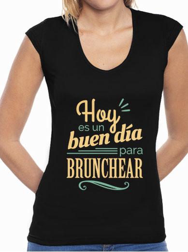 """Camiseta mujer brunch lover """"Hoy es un buen día para brunchear"""" - color sobre negro"""