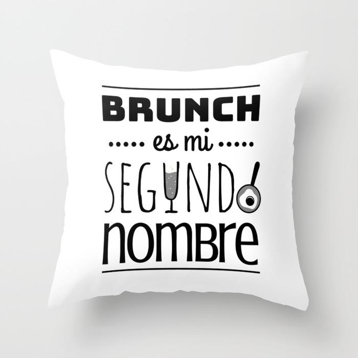 Cojín regalo para brunch lover - Brunch es mi segundo nombre - Blanco y negro