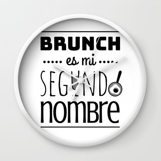 Reloj pared regalo para brunch lover - Brunch es mi segundo nombre - Blanco y negro