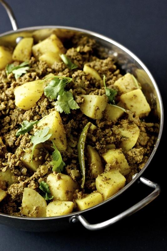 kheem aloo, a ground beef curry