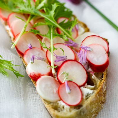 Pickled Radish and Lemon Mascarpone Tartines