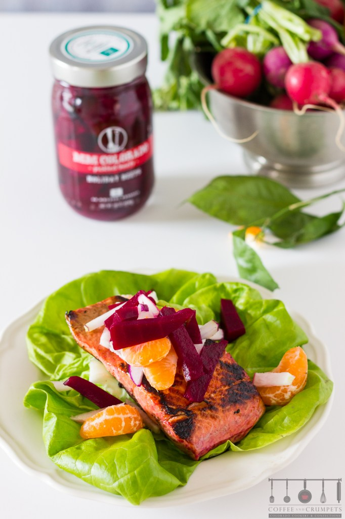 Pickled Beet Slaw with salmon and salad