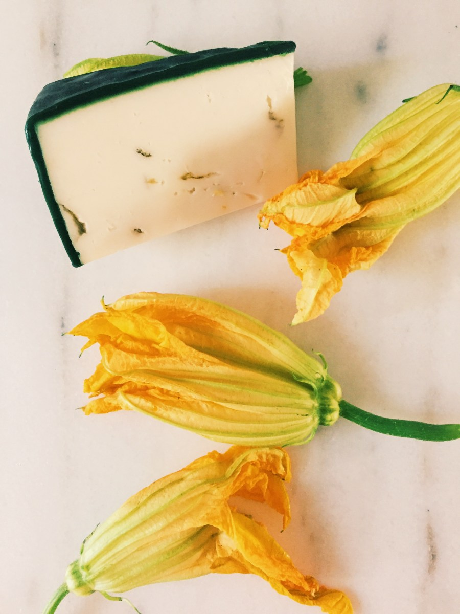 Squash Blossoms and Haystack Goat Cheese