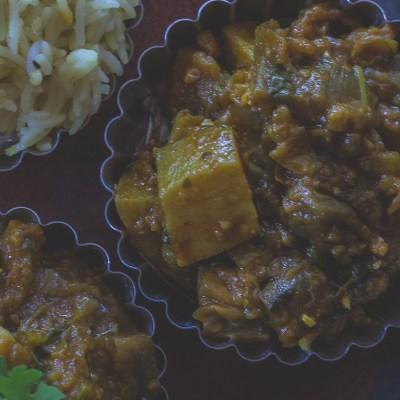 Eggplant and Potato Curry | Baingan Aloo
