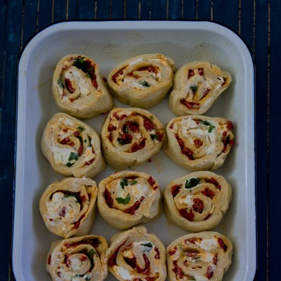 Piquillo Pepper and Goat Cheese Rolls