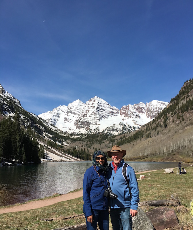 Maroon Bells in the background with Maroon Lake