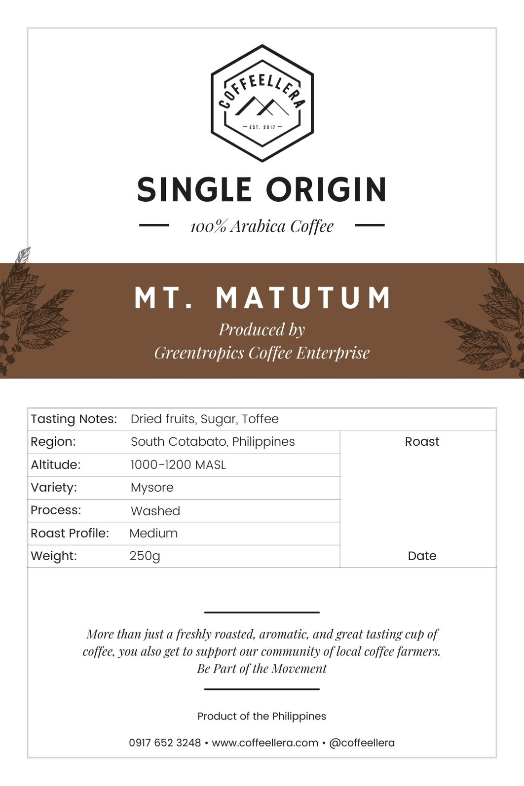 Mount Matutum Coffee Beans for Sale by Coffeellera