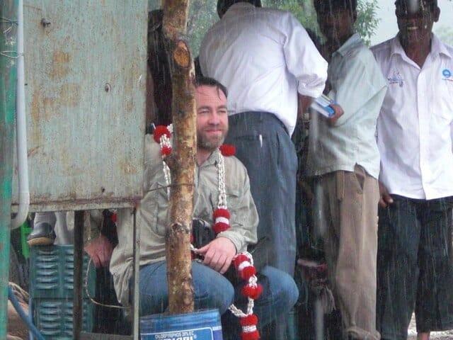 Gwilym Davies in India, in the rain