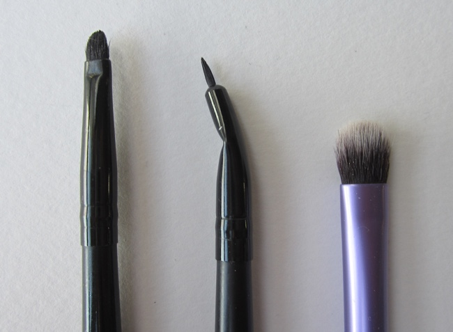 e.l.f. small smudge brush, e.l.f. angled eyeliner brush, Real Techniques shading brush