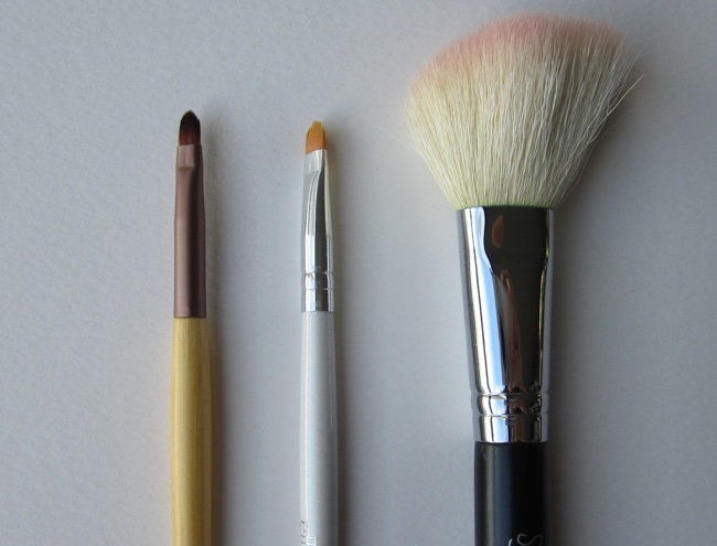 ecoTools detailed lip/liner brush, e.l.f. concealer brush, Sigma F40 large angled contour brush