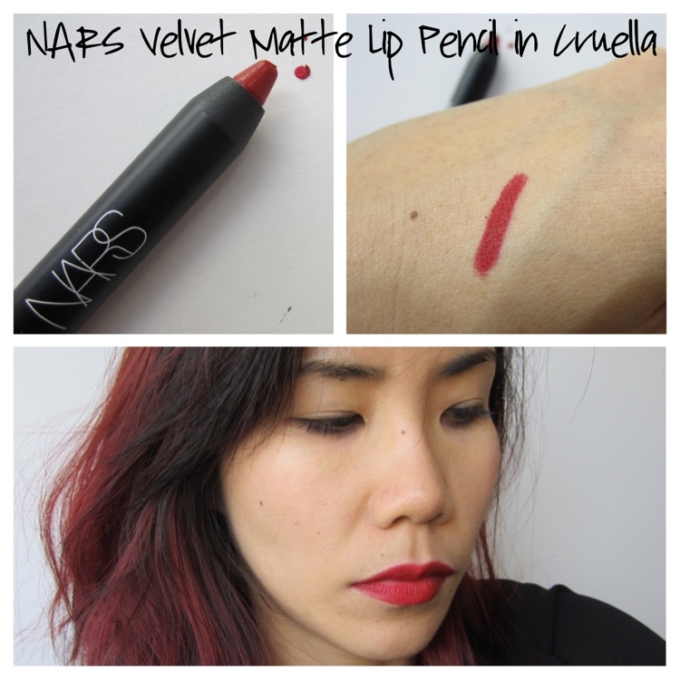 nars velvet matte lip pencil cruella collage