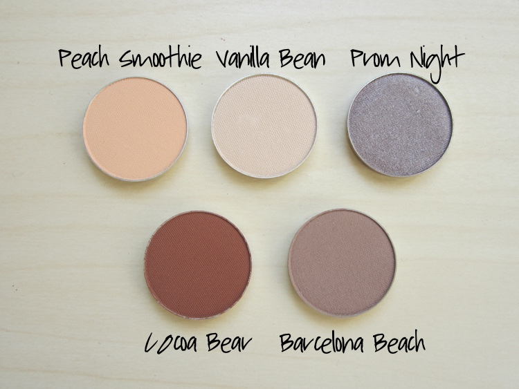 makeup geek eyeshadows peach smoothie vanilla bean prom night cocoa bear barcelona beach