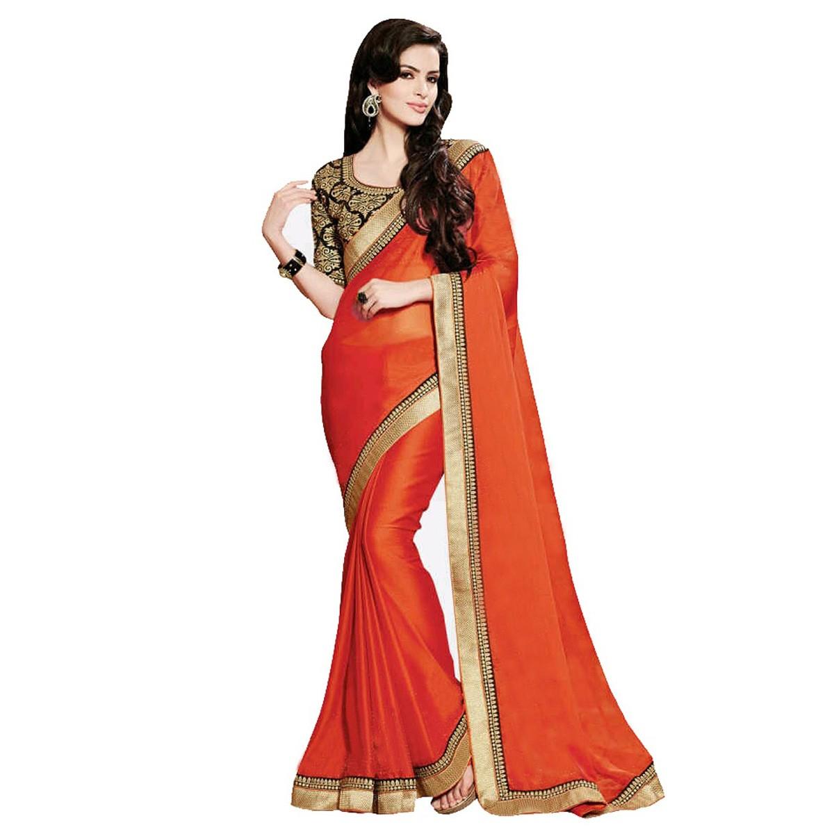 Plain border saree- online-indiarush.com