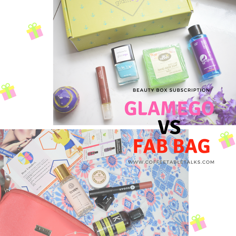 Glamego Box Vs Fab Bag comparison of the best beauty subscription box in India