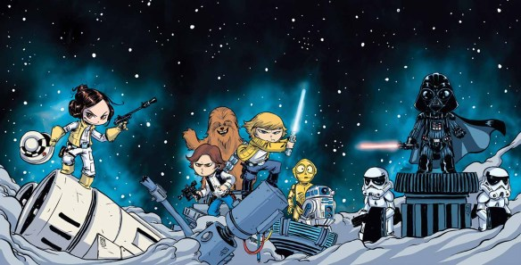 """Star Wars"" No. 1 variant cover illustrated by Skottie Young. (Image courtesy of Marvel Entertainment)"
