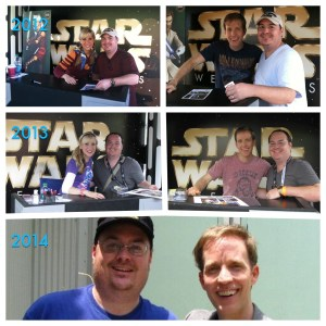 James Arnold Taylor, Ashley Eckstein and I through the years.
