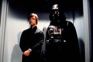 Darth Vader brings Luke Skywalker (Mark Hamill) to the Emperor's throne room on the Death Star in RETURN OF THE JEDI. © Lucasfilm Ltd. & TM. All Rights Reserved.