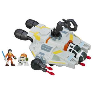 STAR WARS THE GHOST Playset (Ages 3-7 years /Approx. Retail Price: $29.99 /Available: Fall 2016) Based on the hit animated series, STAR WARS REBELS, this brand new vehicle will allow little ones to act out exciting adventures! THE GHOST playset converts from spaceship mode to playset mode by raising the top of the set. Open THE GHOST playset to reveal a removable cannon, crane, and rover that detaches from the front of the ship to extend the fun! The set also includes EZRA and CHOPPER figures, and is compatible with the PHANTOM vehicle from the DELUXE FIGURE assortment, sold separately.