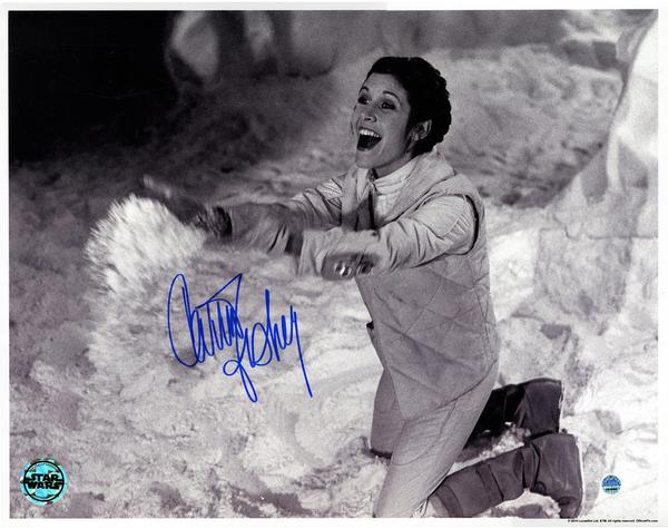 Carrie Fisher Signed Princess Leia Star Wars B/W 11x14 Photo