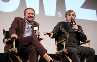 "AUSTIN, TX - MARCH 12: Writer/Director Rian Johnson and Mark Hamill attend the Star Wars: The Last Jedi ""The Director and The Jedi"" SXSW Documentary Premiere at Paramount Theatre on March 12, 2018 in Austin, Texas. (Photo by Jesse Grant/Getty Images for Disney) *** Local Caption *** Rian Johnson;Mark Hamill"