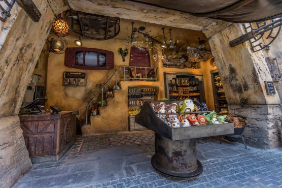 Guests visiting the Toydarian Toymaker stall in Star Wars: Galaxy's Edge at Disneyland Park in Anaheim, California, and at Disney's Hollywood Studios in Lake Buena Vista, Florida, will discover an assortment of artisan-style plush characters, wood and tin toys and musical instruments. (Joshua Sudock/Disney Parks)