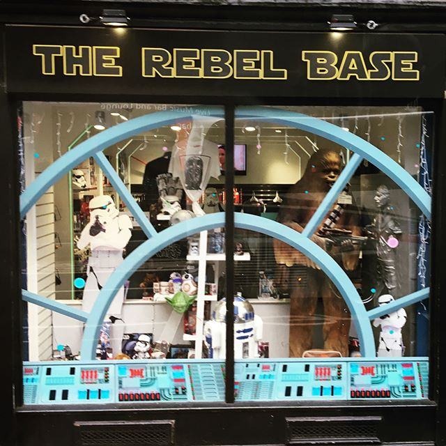 The Rebel Base window from the Galaxy Store in Edinbugh, Scotland, United Kingdom