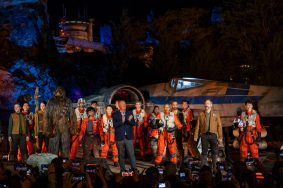 Bob Chapek, chairman, Disney Parks, Experiences and Products, is joined by a cast of Star Wars characters for the official dedication of Star Wars: Rise of the Resistance at Disney's Hollywood Studios, Dec. 4, 2019. Opening to the public Dec. 5, 2019, inside Star Wars: Galaxy's Edge at Walt Disney World Resort in Lake Buena Vista, Fla., the groundbreaking new attraction invites guests into a climactic battle between the Resistance and the First Order in a thrilling Star Wars adventure of galactic proportions. (Matt Stroshane, photographer)
