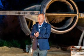 Bob Chapek, chairman, Disney Parks, Experiences and Products, officially dedicates Star Wars: Rise of the Resistance at Disney's Hollywood Studios, Dec. 4, 2019. Opening to the public Dec. 5, 2019, inside Star Wars: Galaxy's Edge at Walt Disney World Resort in Lake Buena Vista, Fla., the groundbreaking new attraction invites guests into a climactic battle between the Resistance and the First Order in a thrilling Star Wars adventure of galactic proportions. (Abigail Nilsson, photographer)