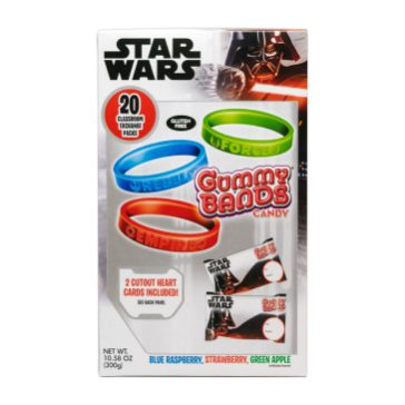 FLIX CANDY - Star Wars Gummy Bands Kids love to wear and share the Gummy Bands with their friends, trading flavors and sayings before nibbling their way through the candy jewelry. Assorted fun flavors in each box Each pouch can be personalized Back of the box contains (2) special pass out Valentine's hearts with To/From: personalization. Shop now at Flix Candy: https://www.flixcandy.com/product-page/star-wars-20ct-gummy-bands