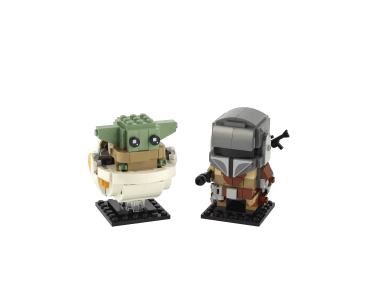 LEGO® BrickHeadz™ Star Wars™ The Mandalorian™ & The Child 75317 Building Kit Build awesome LEGO® BrickHeadz™ versions of the 2 most popular Star Wars: The Mandalorian characters! Strap a blaster rifle to The Mandalorian's back and put a blaster pistol in this bounty hunter's hand ready for battle. Create a hoverpram for the Child and adjust its ears for happy and sad expressions. Both construction models come with a baseplate so you can proudly display your creations.