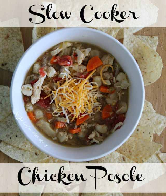 Crockpot Chicken Posole |  This is an easy freezer meal!  You'll lose the flavors of this Mexican Soup that goes straight from the freezer to the slow cooker.
