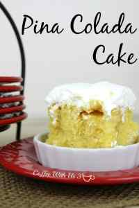 Pina Colada Cake is a delicious poke cake with pineapple and cream of coconut. This is a perfect cake for summer bbq's. It is a cake that is very rich and great for sharing.