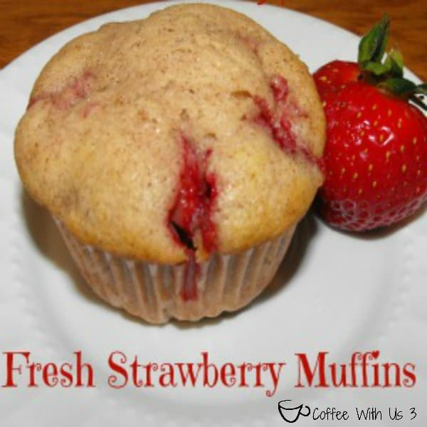 Fresh Strawberry Muffins by Coffee With Us 3- Homemade from scratch muffins, full of juicy strawberries!