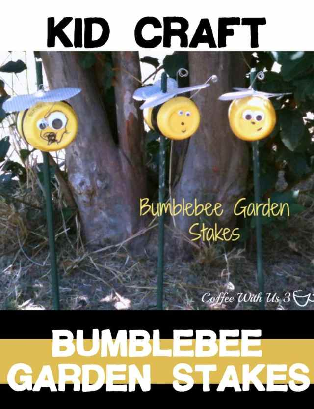 Bumblebee Garden Stake kid's craft is fun and a great way to recycle!