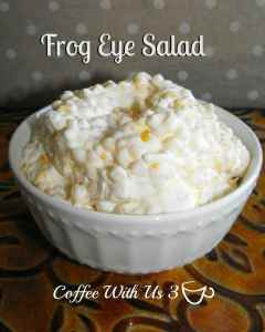 """Frog Eye Salad"" A cross between a pasta salad, fruit salad, and yummy dessert"