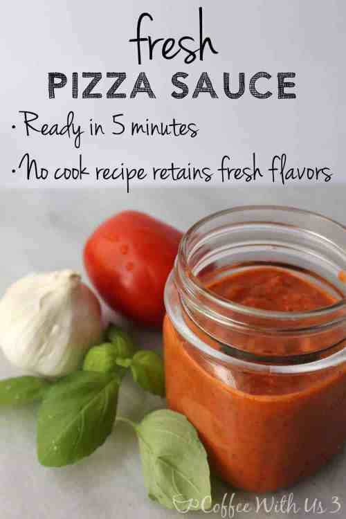 Coffee With Us 3 | Fresh Pizza Sauce made with basil, garlic, and tomato. Ready in just 5 minutes, with no cooking required!