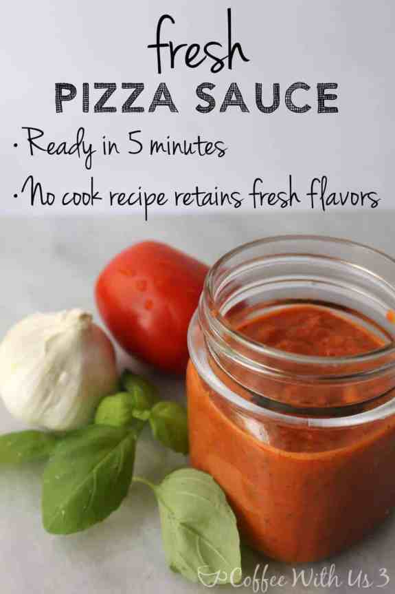 Fresh Pizza Sauce in a glass jar, with basil, garlic, and tomato