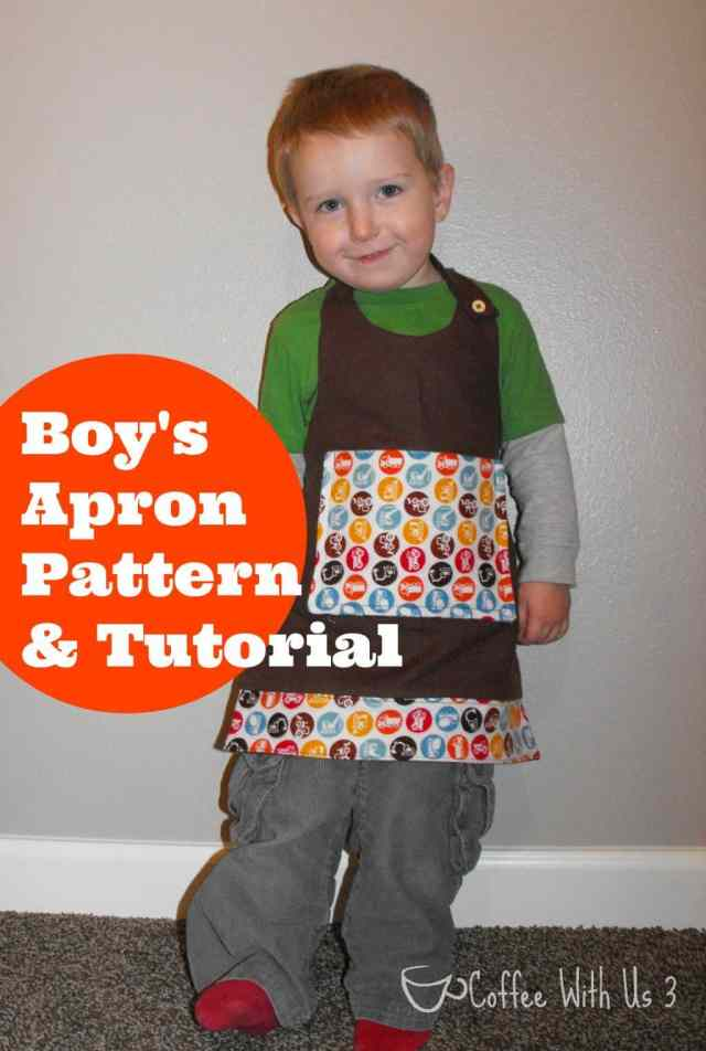 Make this simple boy's apron pattern following the tutorial. Great for a Christmas present for any little guy!