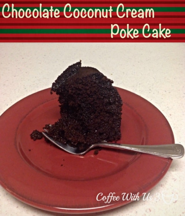 Chocolate Coconut Cream Poke Cake is a chocolate cake with holes poked in it and has cream of coconut pour over the top. The cream soaks in the cake.