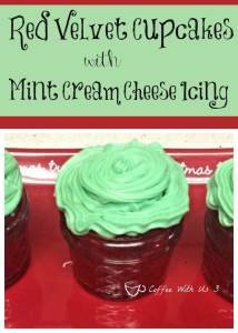 Red Velvet Cupcakes with Mint Cream Cheese Icing - A fun red & green treat! Perfect for Christmas or anytime time you want a minty & delicious cupcake!