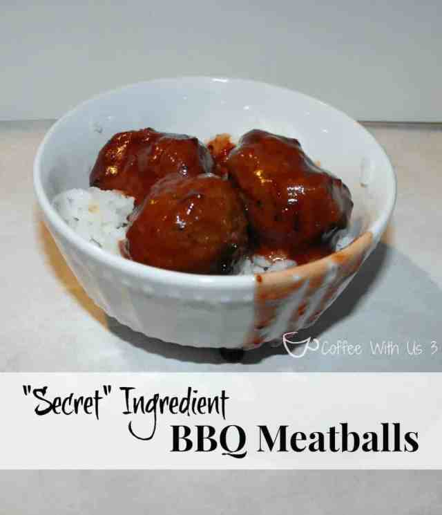 """You'll never guess what the """"secret"""" ingredient is in these simple crockpot BBQ Meatballs!"""