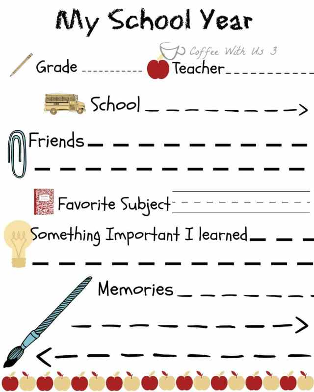 My school year printable