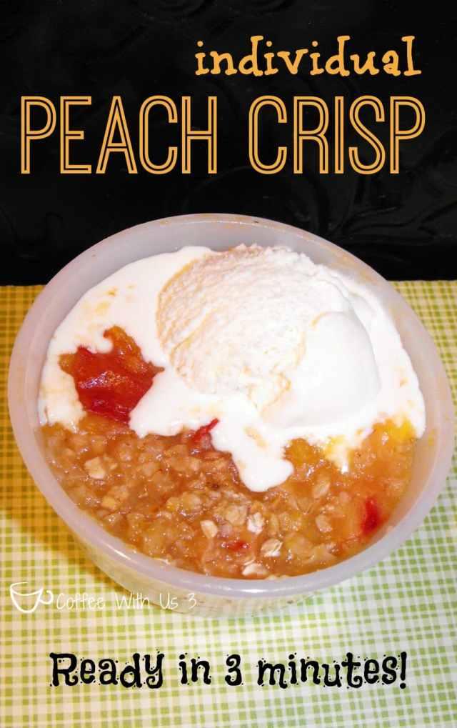 Individual Peach Crisp- Ready in 3 minutes! #peach #mugcake