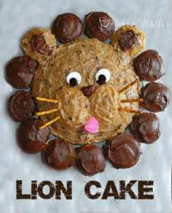This adorable Lion Cake is surprisingly easy to make! #birthdaycakes #lioncake