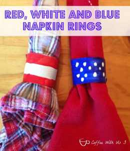 red, white, and blue napkin rings
