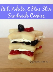 Red, White, & Blue Star Cookies - These fun sandwich cookies are perfect for the 4th of July or any patriotic holiday! Easy to make, yummy to eat!