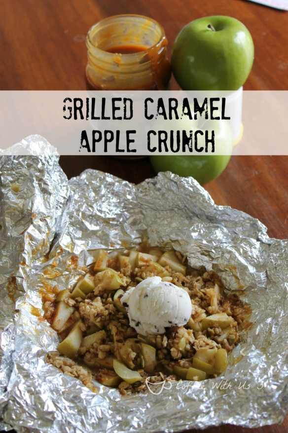 Grilled Caramel Apple Crunch | Are you looking for a fun dessert for on the grill or camping?  This dessert is perfect for either! This is a delicious dessert full of granola, apples, & caramel! Top it with ice cream for an even more amazing treat. Click the pin/link for the recipe.